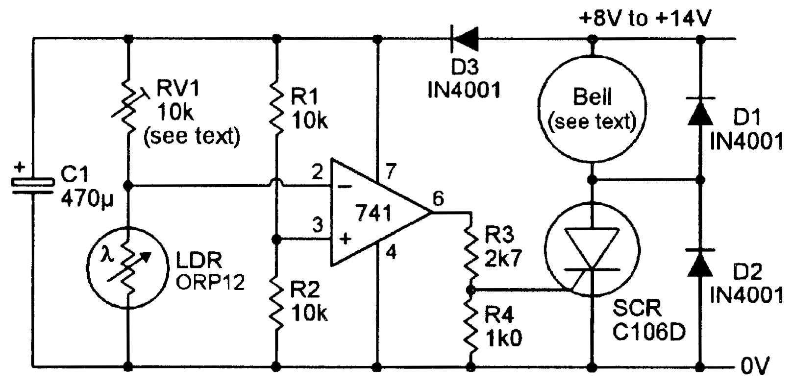 Electronic Circuits Can Remove These Difficulties Circuit Diagram Light Sensitive Nuts Volts Magazine A Bell Output Ldr Alarm