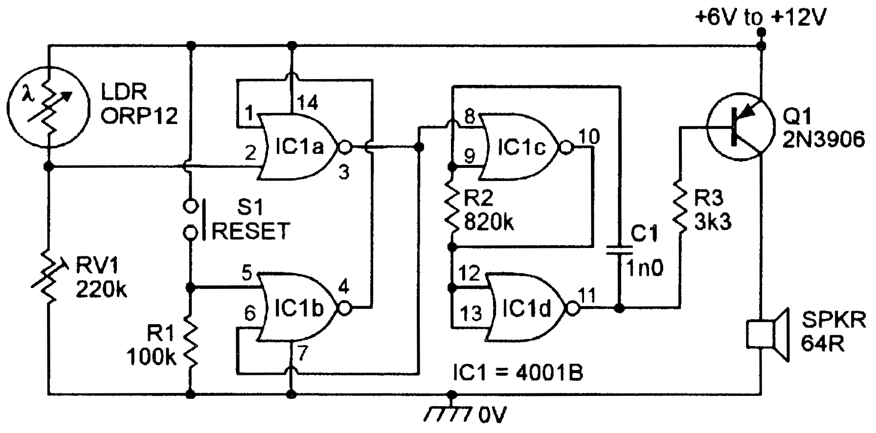 Light Sensitive Circuits Nuts Volts Magazine Switch And Sensor Ldr Circuit Also Simple Relay Diagram In Practice The Switching Point Of Each Individual 4001b Ic Is Very Stable Figure 7 Gives Activated Alarm