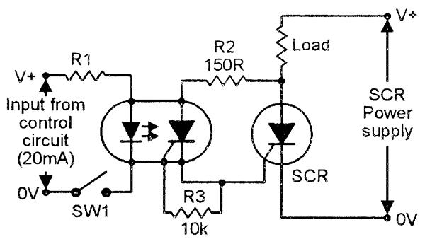 high-power control via an optocoupled scr slave