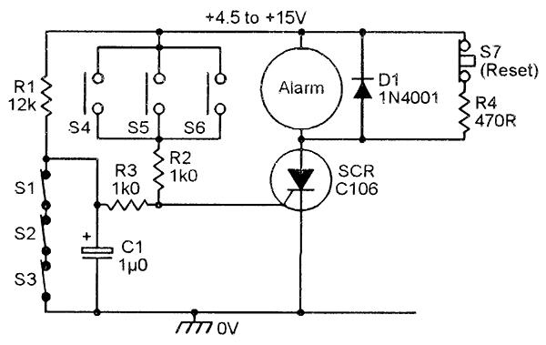 figure 8  simple burglar alarm system, with panic facility