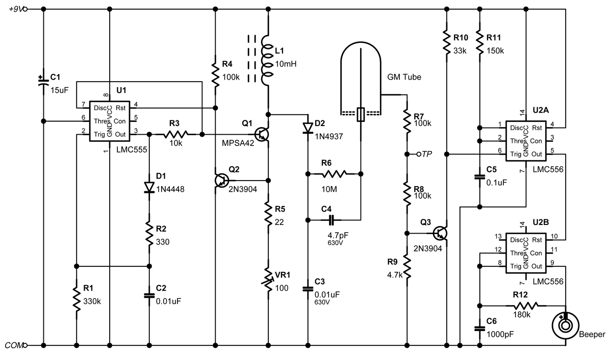 Take advantage of that pesky inductive turn-off pulse to power a Geiger-Müller  tube. A dual timer makes a beep for every beta or gamma ray detected.