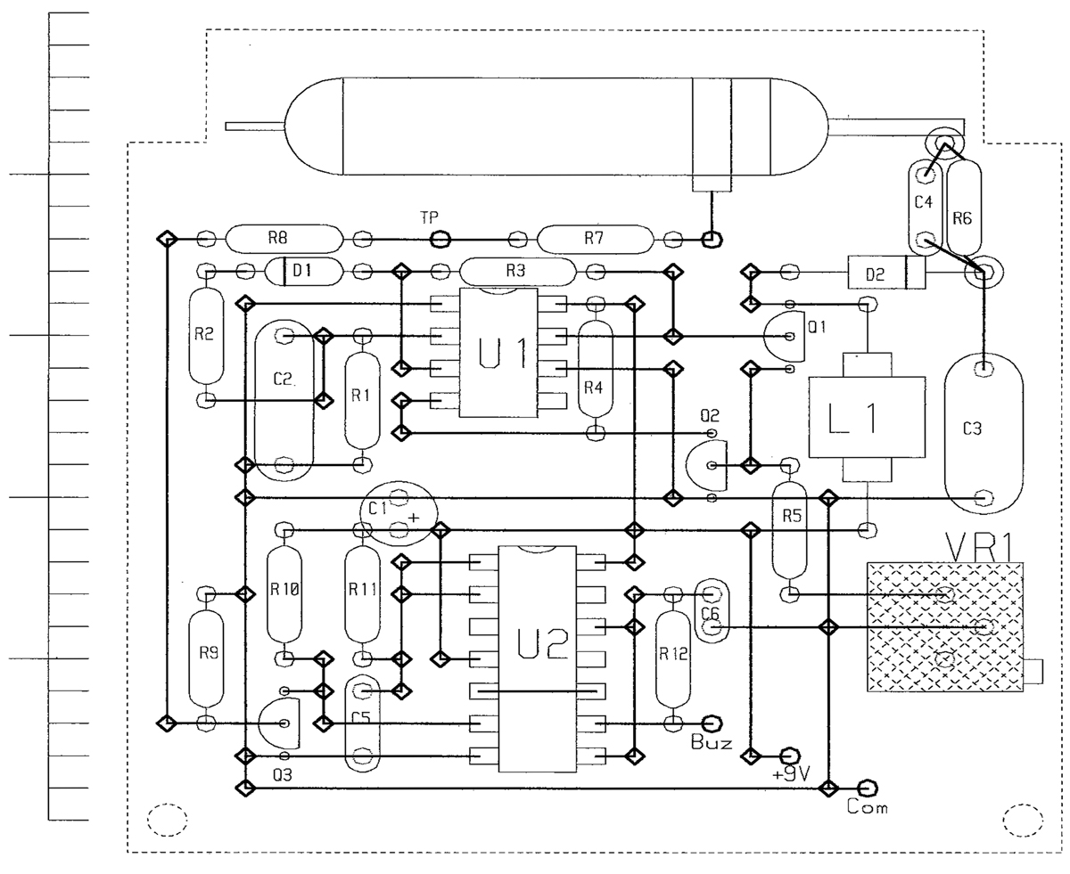 Pocket Geiger Unit Nuts Volts Magazine Tube Rectifier Schematic In Addition Analog Pid Controller Circuit Figure 2 The Prototype G M Counter Was Built On A Small Piece Of Perf Board Whose Component Side Is Shown Here Thick Vertical Lines Are Bus Wires Top