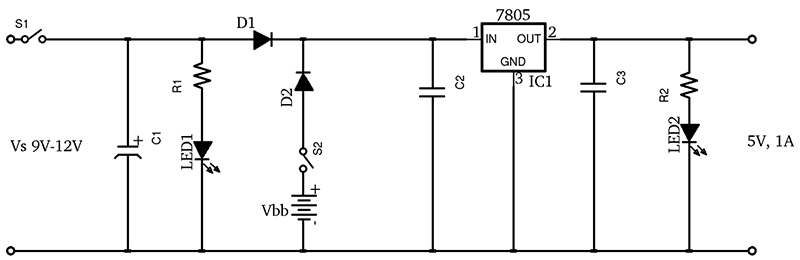 A simple dc ups nuts volts magazine the circuit shown in figure 2 is a ups intended for low power applications it is essentially a linear regulator with battery backup asfbconference2016 Images