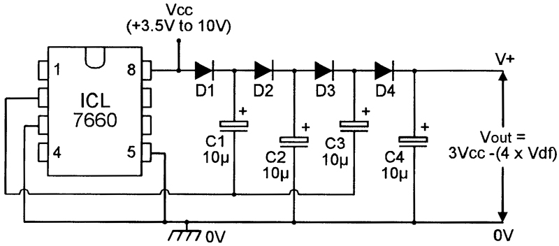 dc voltage converter circuits nuts \u0026 volts magazinevalue equal to three times the vcc voltage, minus the value of the series connected diode volt drops typically, the circuit gives an output of about
