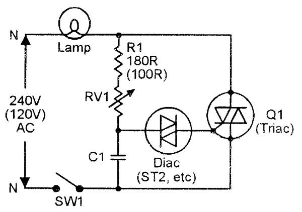 electrical circuit diagram for a typical scr based light