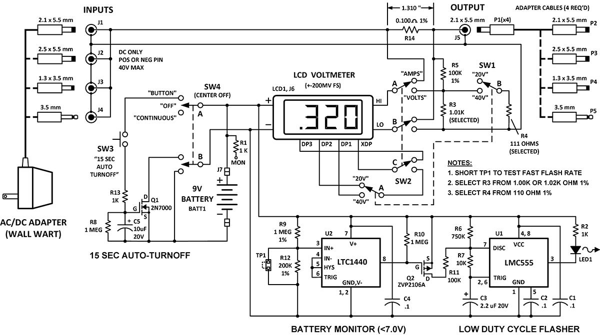 Build A Wall Wart Power Monitor Nuts Volts Magazine 5v One Battery Led Light Flasher Circuit Diagram Electronic Schematic Of The Features Auto Turnoff And Circuits