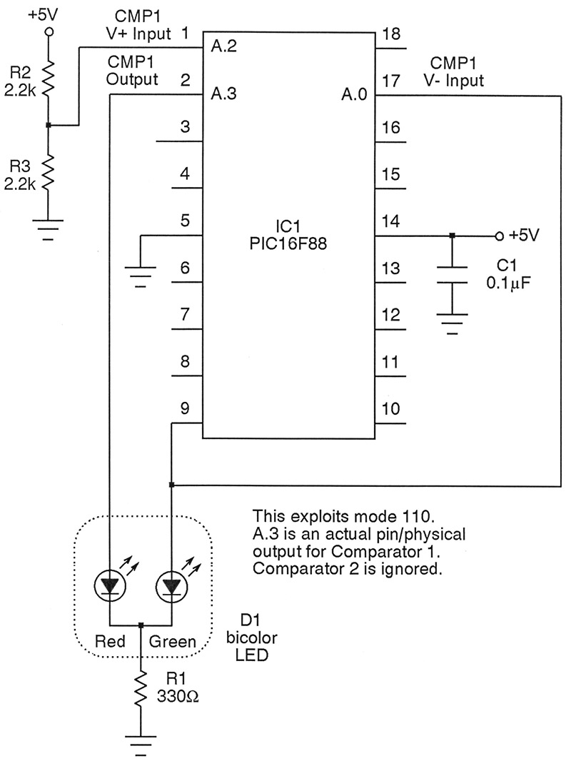 All About Pic Analog Comparators Nuts Volts Magazine Experiment 6 Leds In A Series Circuit Ii