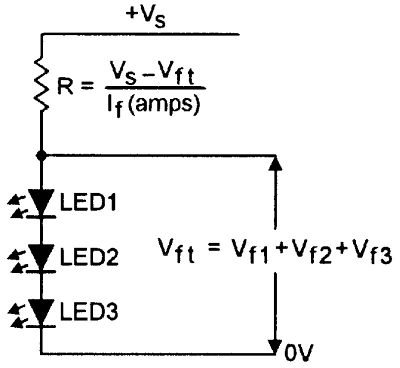 leds wired in series and driven via a single current-limiting resistor
