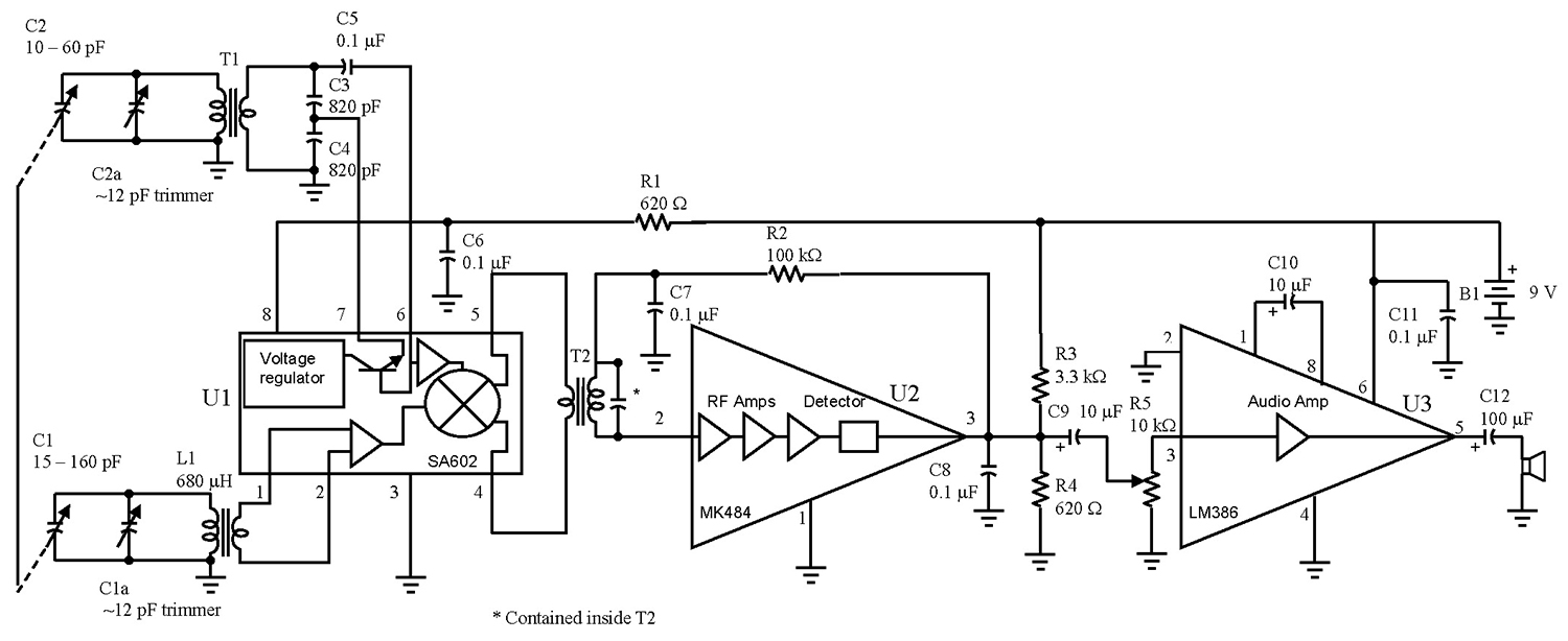 A Simple Superhet Nuts Volts Magazine Eagle 4 Post Wiring Diagram Circuit Description