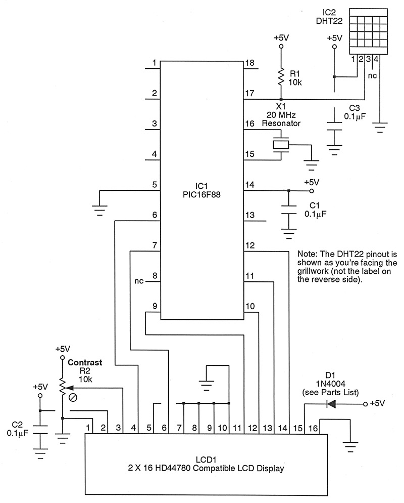 The Dht22 Humidity Temperature Sensor Demystified Nuts Volts Simple Circuit As Indicated There Is A Four Pin Device 5v Applied To 1 While Ground 4 3 No Connection And Simply Ignored