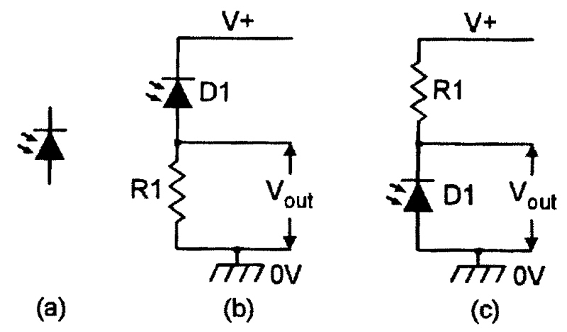 35a895894 FIGURE 1. Photodiode symbol (a) and alternative ways ((b) and (c)) of using  a photodiode.