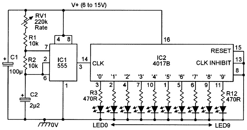 Led chasersequencer circuits nuts volts magazine figure 7 this version of the 10 led chaser can be used with any supply up to 15v ccuart Choice Image