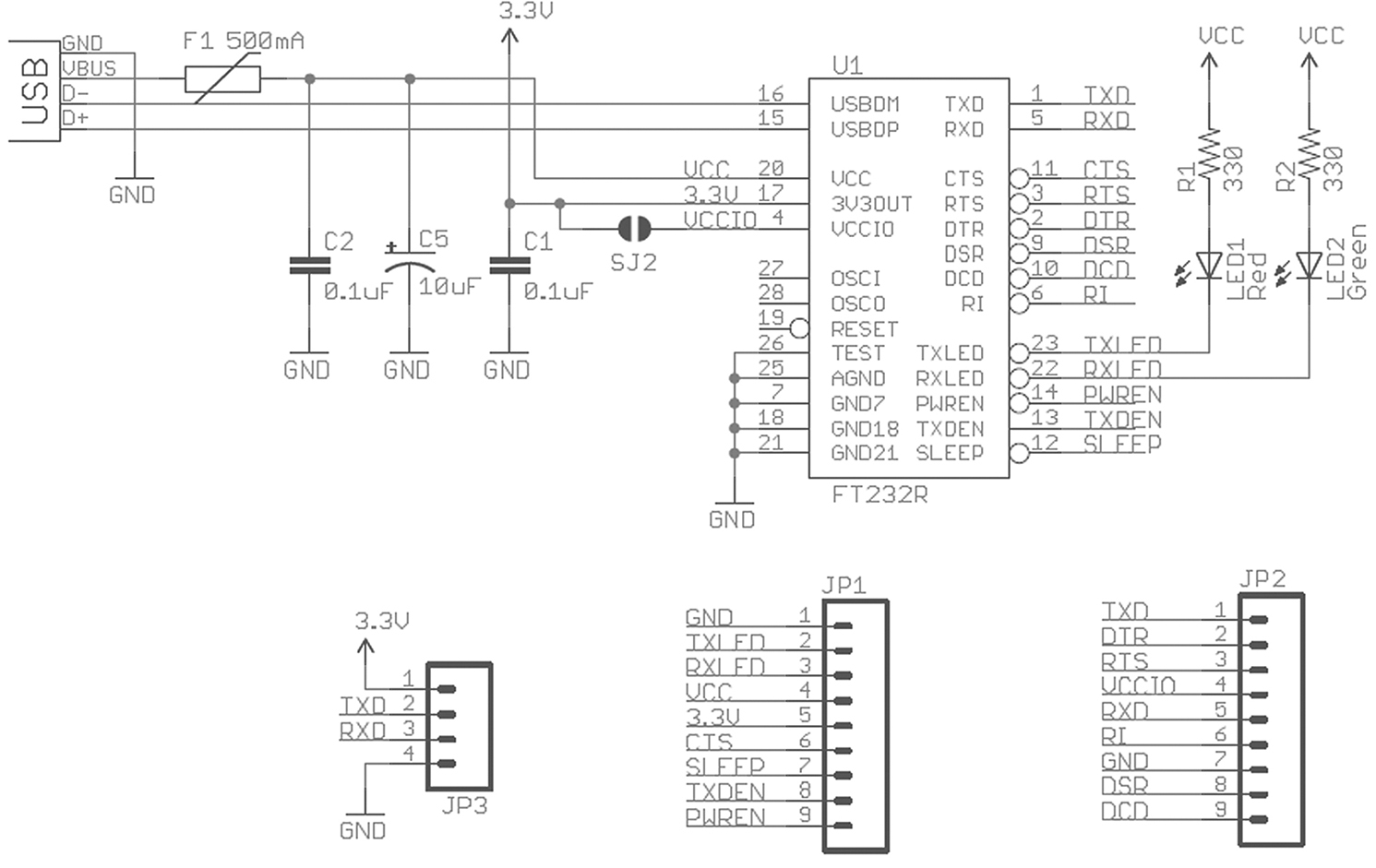 Smileys Workshop 33 Usb To Uart For Electronic Prototyping Part 555 And 5 56 Timer Circuits On 3 Led Chaser Circuit Diagram Sparkfun Board Schematic