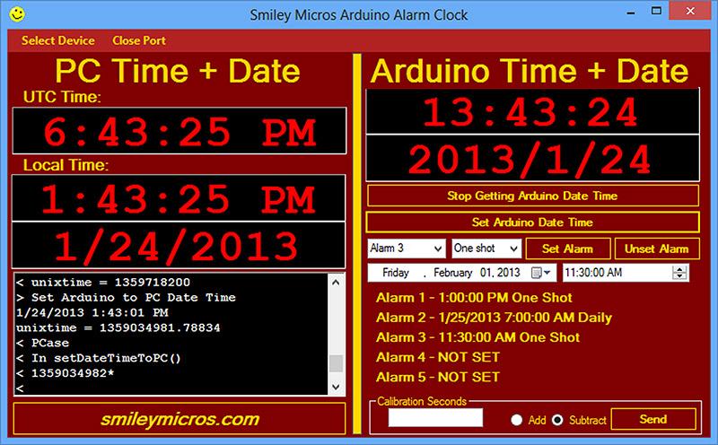 Smiley's Workshop 57: The Arduino Proto Shield Alarm Clock — Part on set clock, set an 037, set phone, set timer, set top boxes, set date,