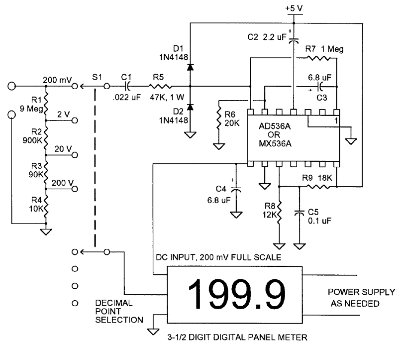 see wiring diagram of true rms circuit the ac volt nuts   volts magazine  the ac volt nuts   volts magazine