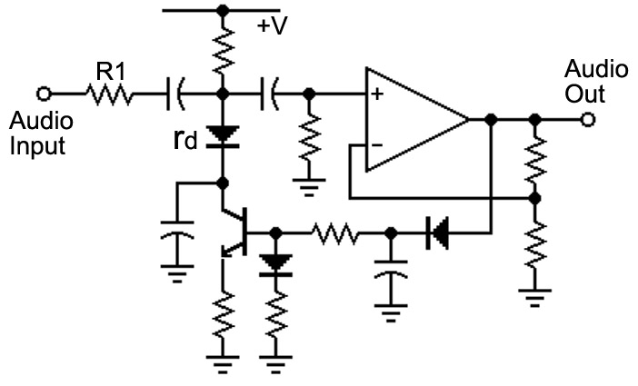 build a voice changer nuts \u0026 volts magazinethe current through the diode (id) is controlled by the amplitude of the output, and rd \u003d k id (this is a conceptual circuit; more is required to make it