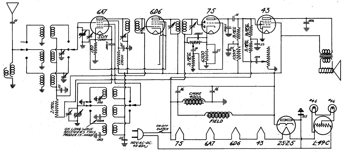 Crosley Radio Vacuum Tube Schematic Receptors Car Fuse Box Wiring Diagram Rh Getcircuitdiagram Today