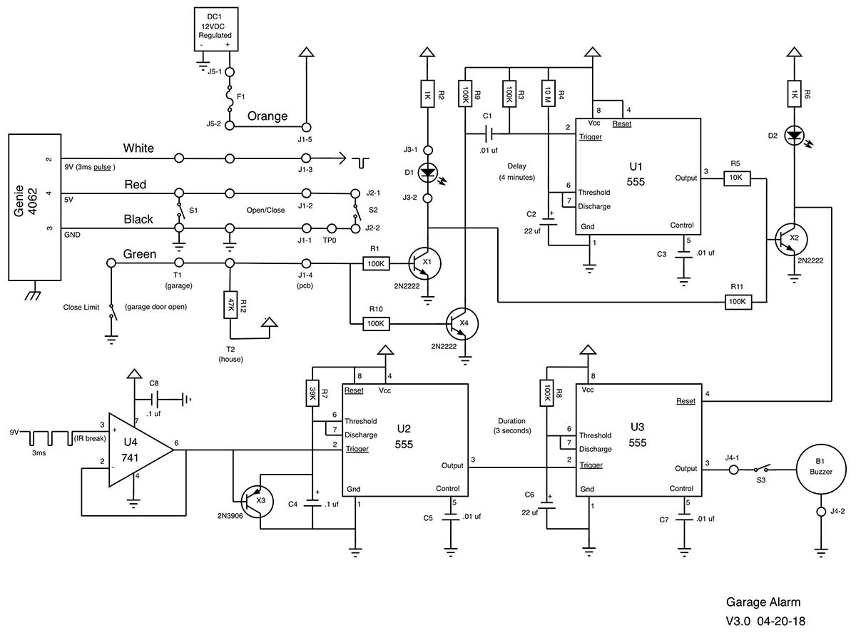 Garage Alarm Nuts Volts Magazine The Schematic Of Door Circuit All Is Working Well Again And I Hope To Outlast Another Opener