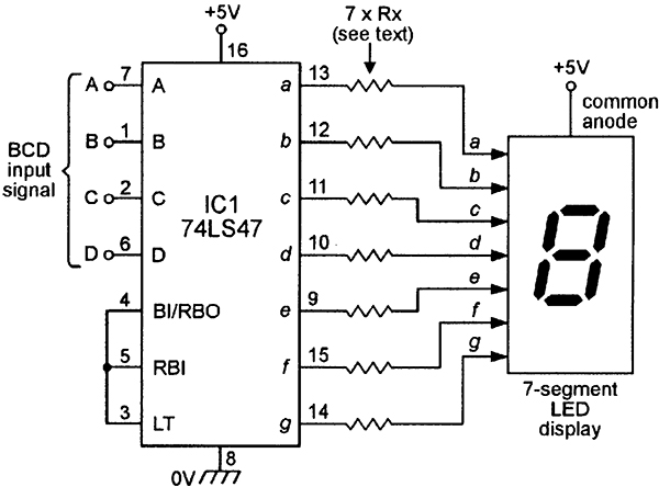 bcd to 7segment display driver 74ls47d connected with