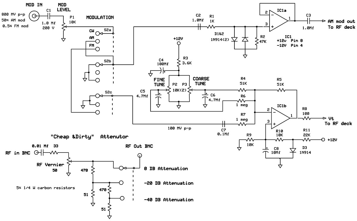 A 150 Mhz Rf Signal Generator For Your Test Bench Nuts Volts Ham Tube Radio Schematic As Well Fm Transmitter Circuit Diodes D1 And D2 Clamp The Input Maximum Level Of 14 P This Is Protection Over Driving P5 Mc1648