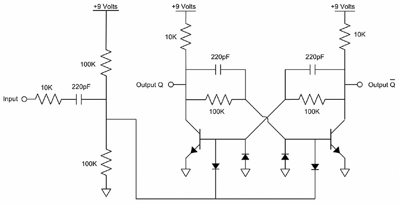 The heart of this clock is the two transistor toggle flip-flop shown in Figure 3. The bi-stable circuit in Figure 4 will be used to explain the operation of ...