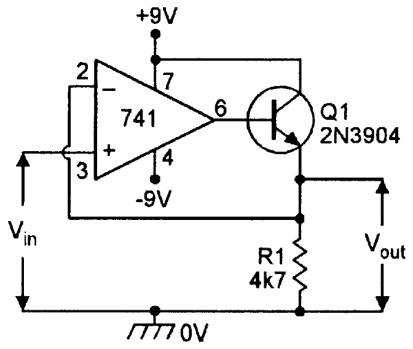 Op amp cookbook part 2 nuts volts magazine unidirectional dc voltage follower with boosted output current drive ccuart Gallery