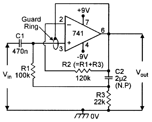 Op amp cookbook part 2 nuts volts magazine ac voltage follower with 50m input impedance without the guard ring or 500m with the guard ring ccuart Gallery
