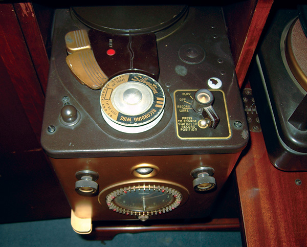 this is the wire recorder portion of a silvertone console unit, containing  a separate phonograph and radio  the recorder could be controlled by the