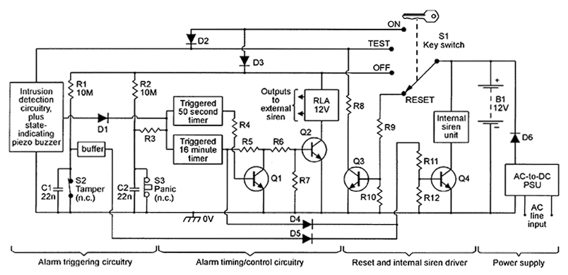 wiring diagram externally powered home security system siren