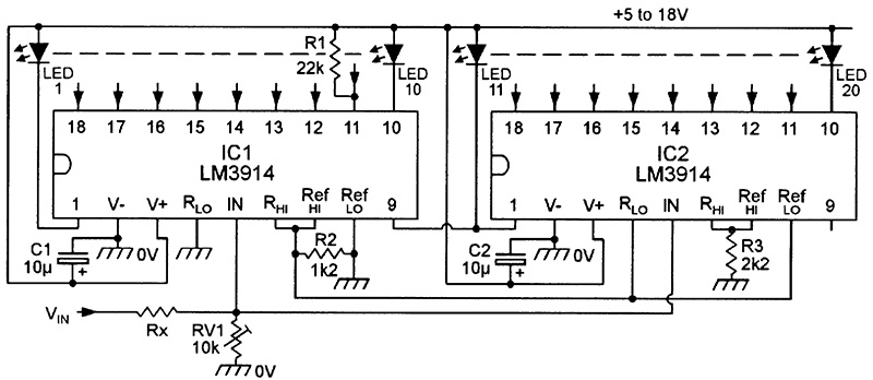 led graph circuits nuts volts magazine for the electronics 20 led voltmeters