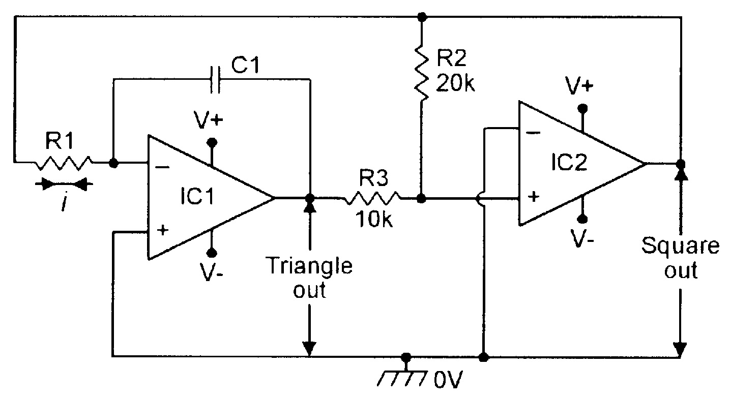 sawtoothwave using opamp electrical components t