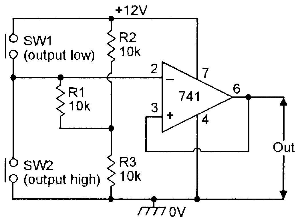 Op Amp Cookbook Part 3 Nuts Volts Magazine Simple Low Battery Indicator Circuit Using Ic 741 Homemade Figure 19 Single Supply Manually Triggered Bistable