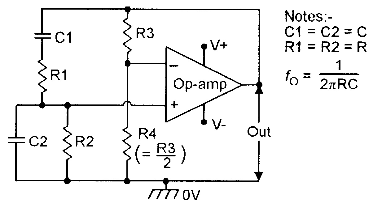 Op Amp Cookbook Part 3 Nuts Volts Magazine 3khz Low Pass Filter And Audio Amplifier Circuit Diagram Super Figure 2 Basic Wien Bridge Sinewave Oscillator