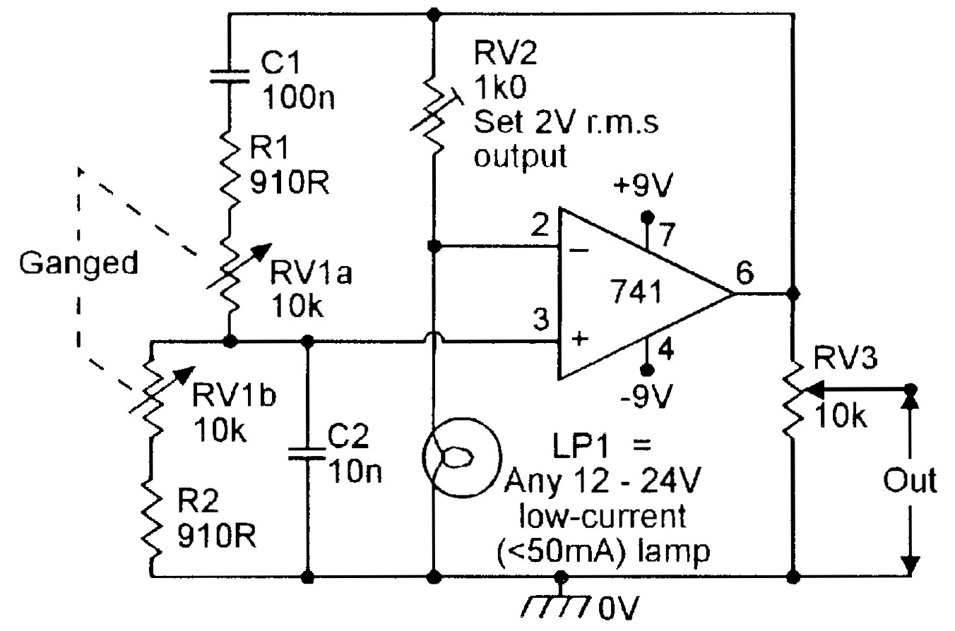 Op Amp Cookbook Part 3 Nuts Volts Magazine Adjustable Symmetric Power Supply Schematic Diagram Figure 4 150hz 15khz Lamp Stabilized Wien Bridge Oscillator