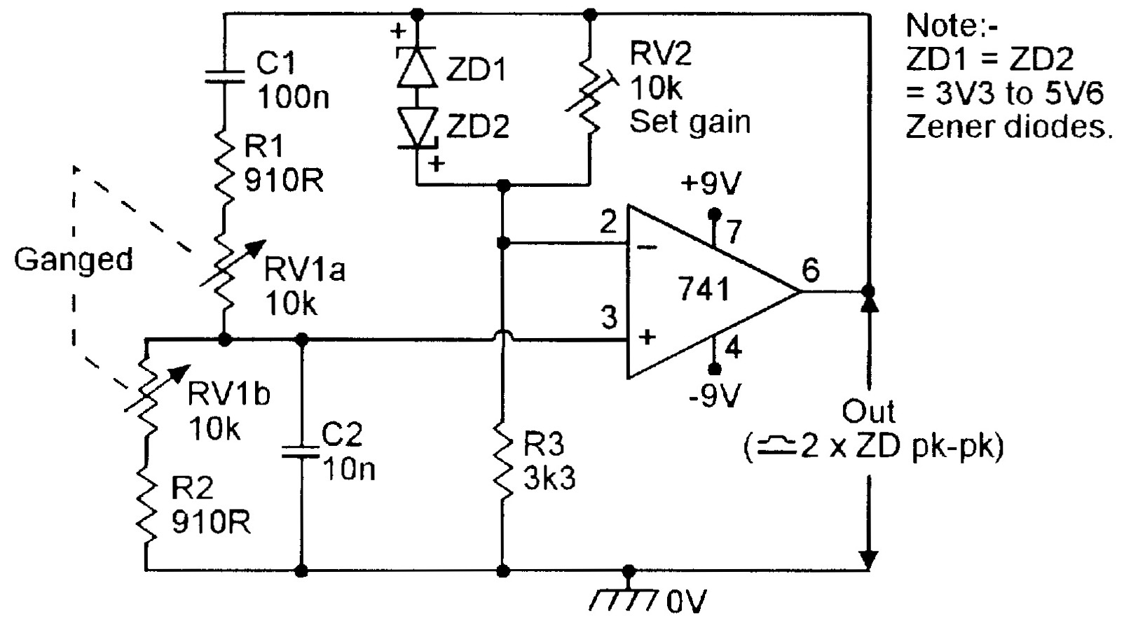 Op Amp Cookbook Part 3 Nuts Volts Magazine 741 Circuit Diagrams Figure 6 Zener Regulated 150hz 15khz Wien Bridge Oscillator