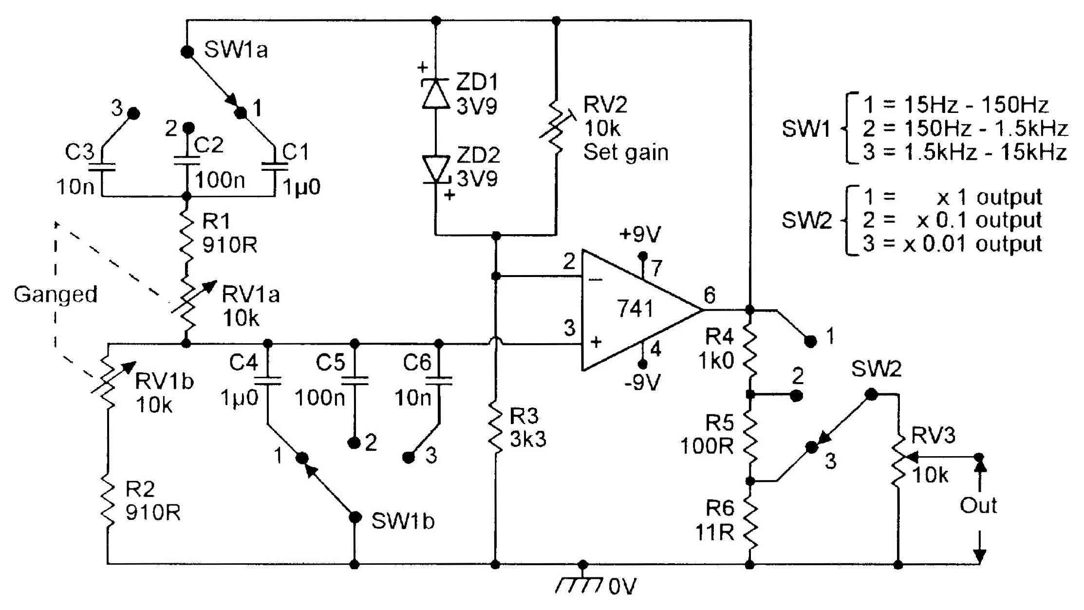 Op Amp Cookbook Part 3 Nuts Volts Magazine Is The Buffer In This Power Supply Circuit Required Figure 7 Three Decade 15hz 15khz Wien Bridge Oscillator
