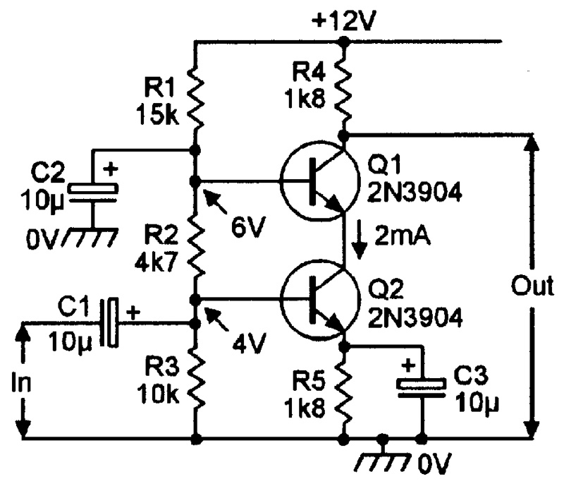 transistor audio amplifier circuit