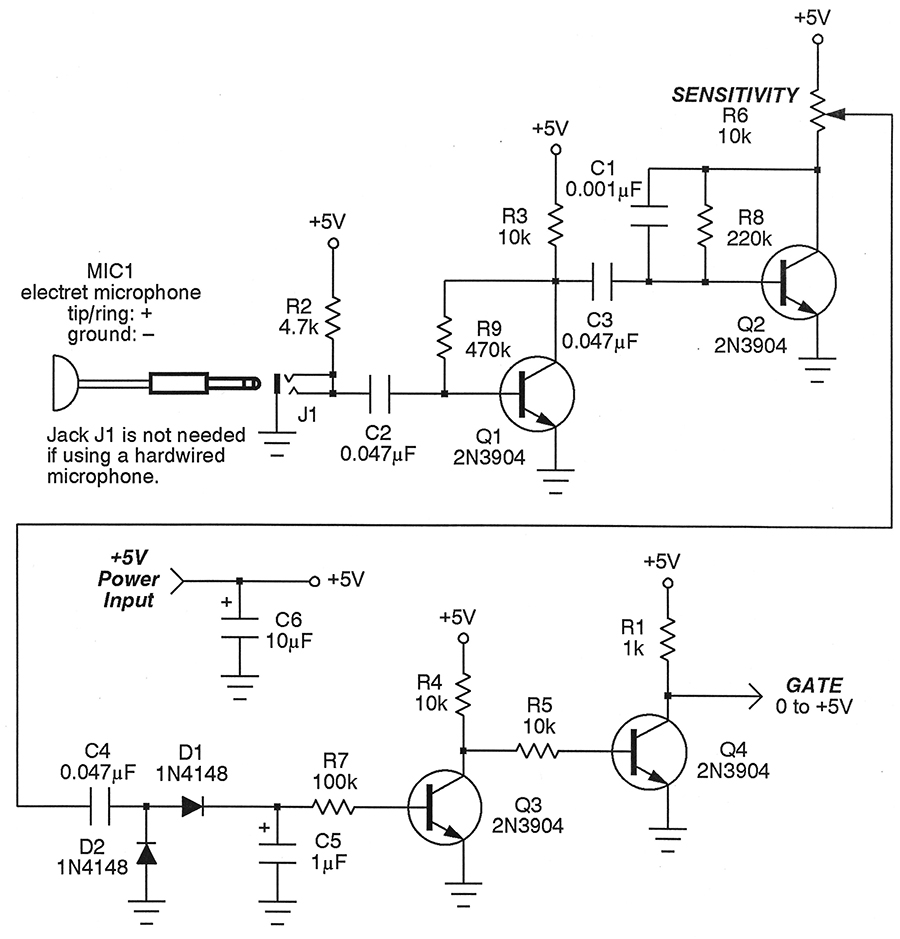 Detecting Sounds With The Sonic Sensor Nuts Volts Magazine Sensitive Envelope Detector Circuit Diagram Figure 1