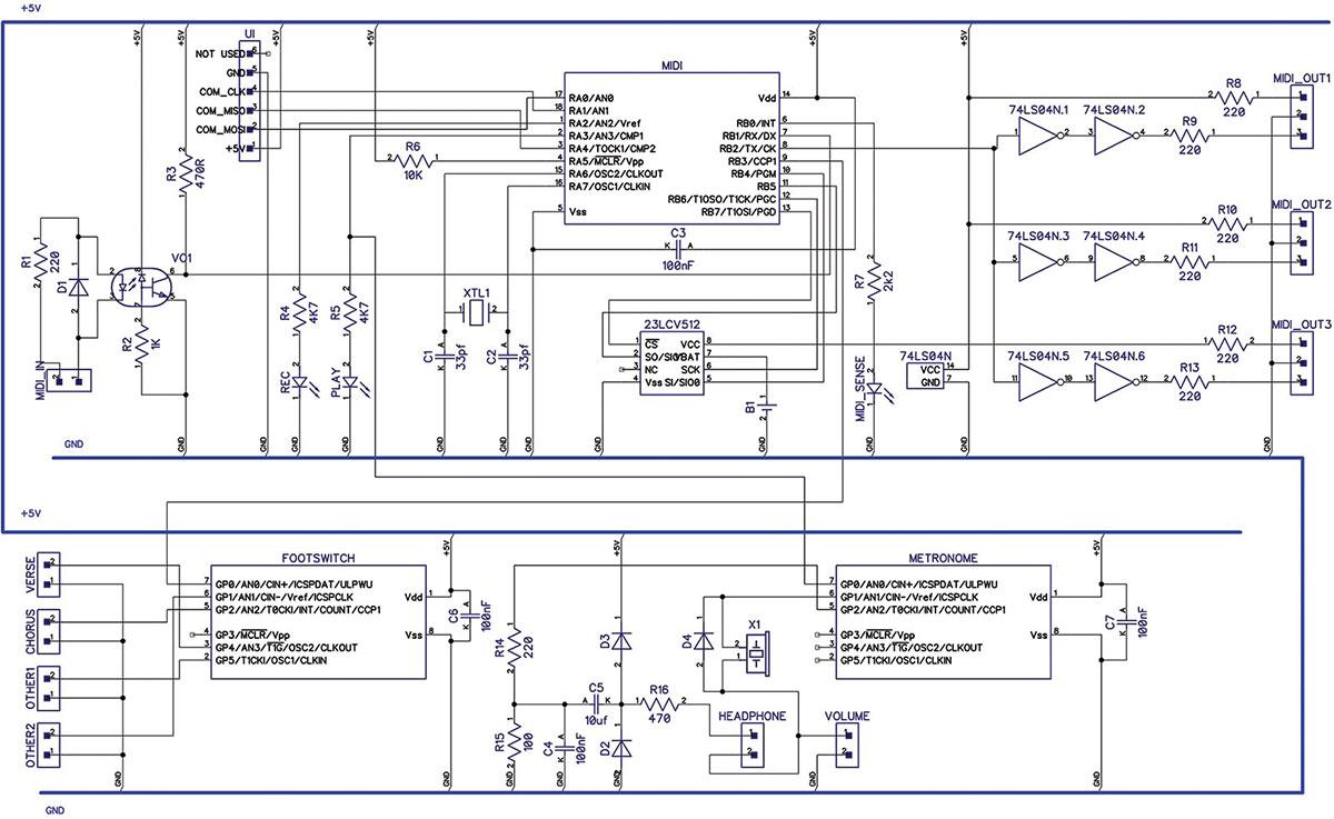 Build the MIDI Replay Stomp Box | Nuts & Volts Magazine on midi to usb wiring diagram, usb keyboard wiring diagram, computer keyboard wiring diagram,