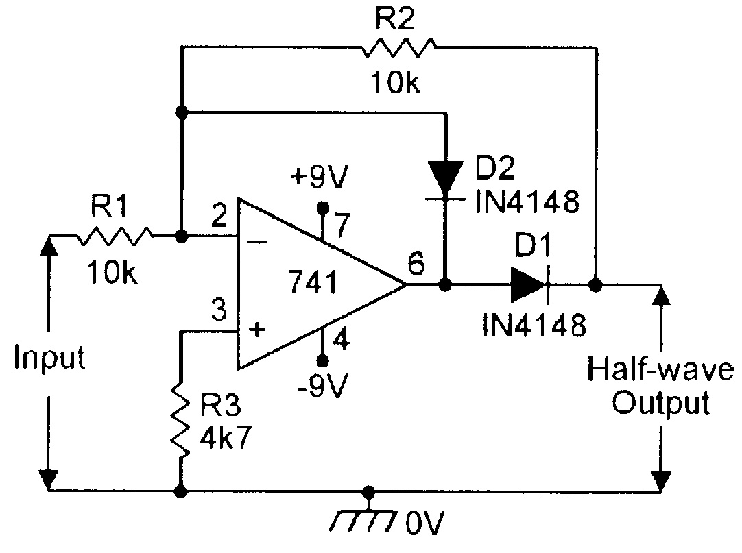 Op Amp Cookbook Part 4 Nuts Volts Magazine Low Battery Voltage Indicator Alarm Circuit Diagram Figure 3 Precision Half Wave Rectifier