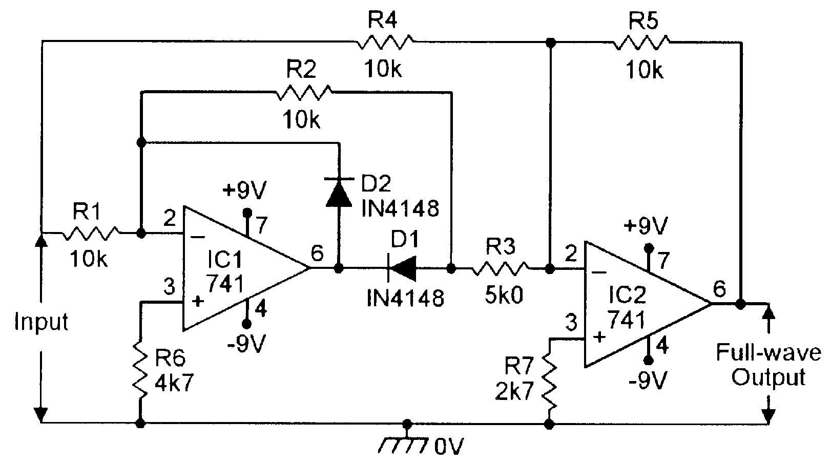 Op Amp Opamp Relaxation Oscillator Single Supply Electrical Circuit Diagram Of 741 Wiring Library Figure 4 Precision Full Wave Rectifier