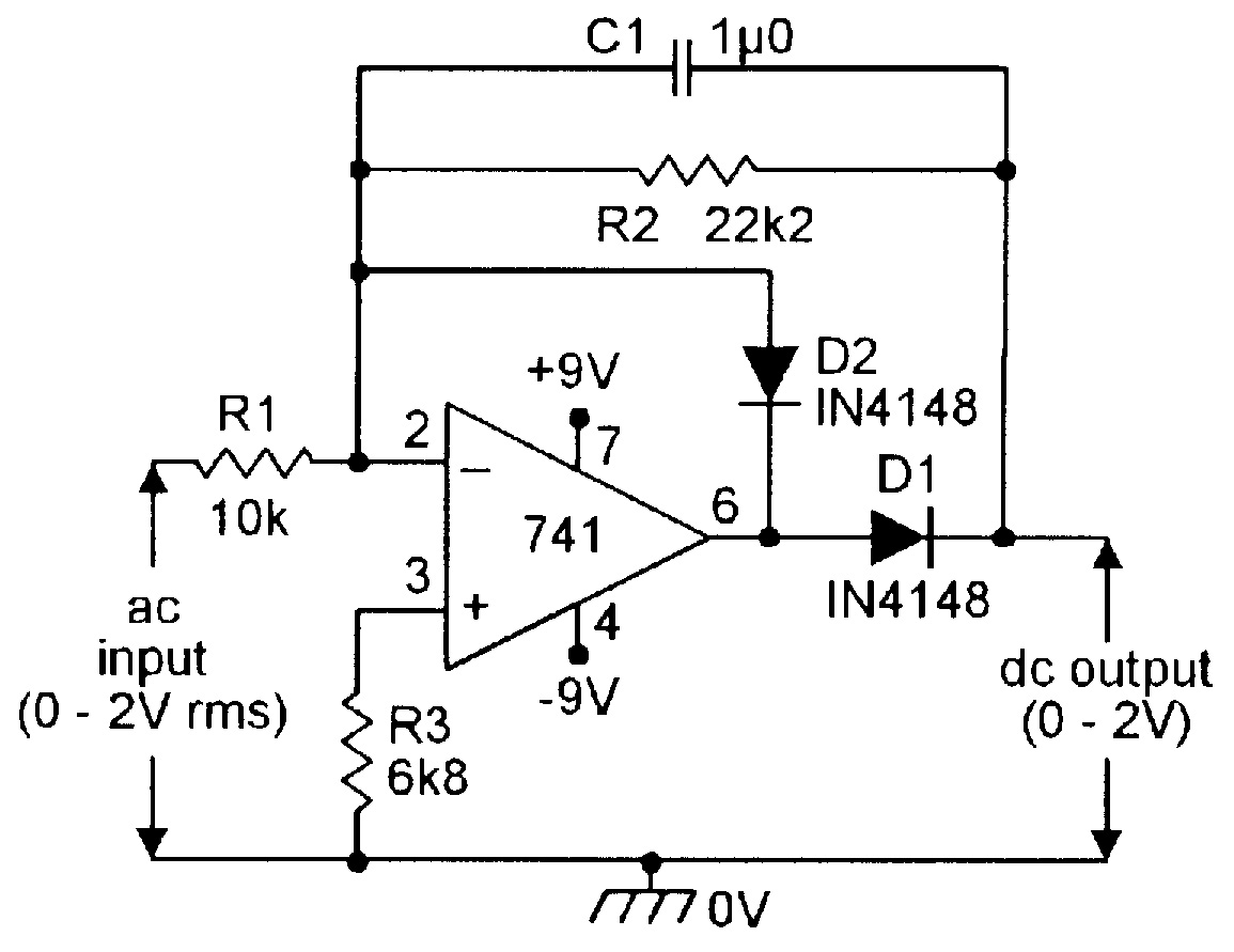 Op Amp Cookbook Part 4 Nuts Volts Magazine Above Circuit Diagram For Diode Matrix Showing Wiring References Figure 5 Precision Half Wave Ac Dc Converter
