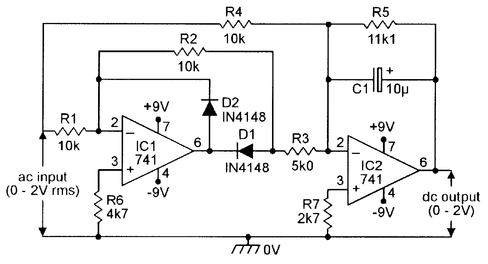Op Amp Cookbook Part 4 Nuts Volts Magazine Above Circuit Diagram For Diode Matrix Showing Wiring References Figure 6 Precision Full Wave Ac Dc Converter