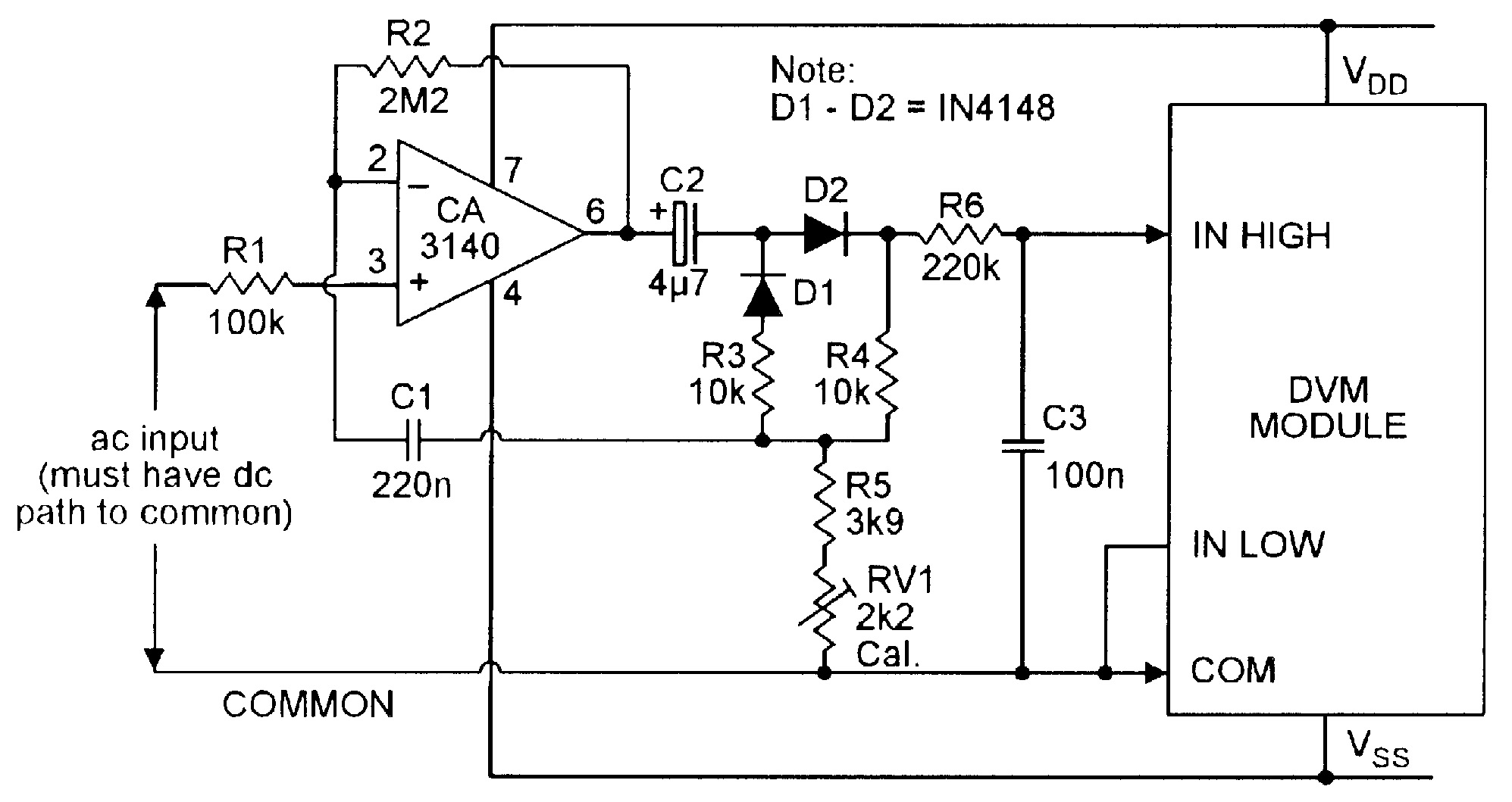 Op Amp Cookbook Part 4 Nuts Volts Magazine Circuit Diagram With Ammeter Figure 7 Ac Dc Converter For Use Dvm Module