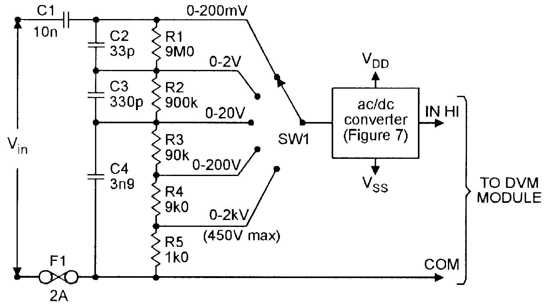 Five-range AC voltmeter converter for use with DVM modules.