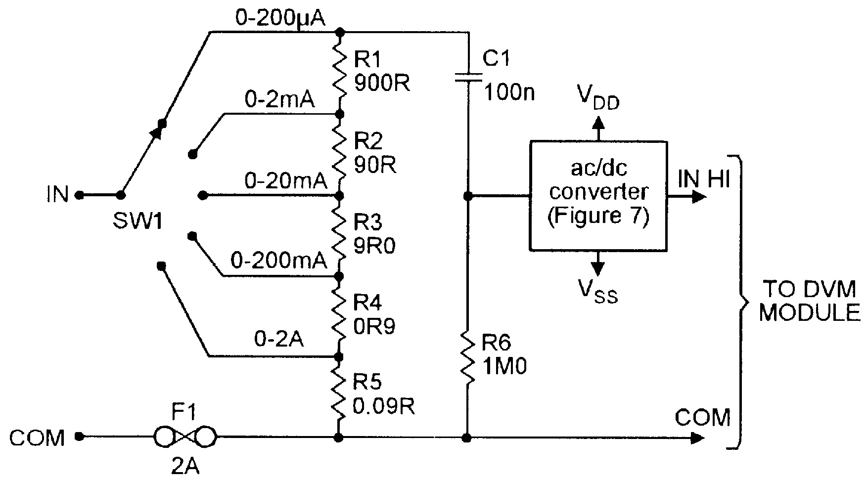 Five-range AC current-meter converter for use with DVM modules.