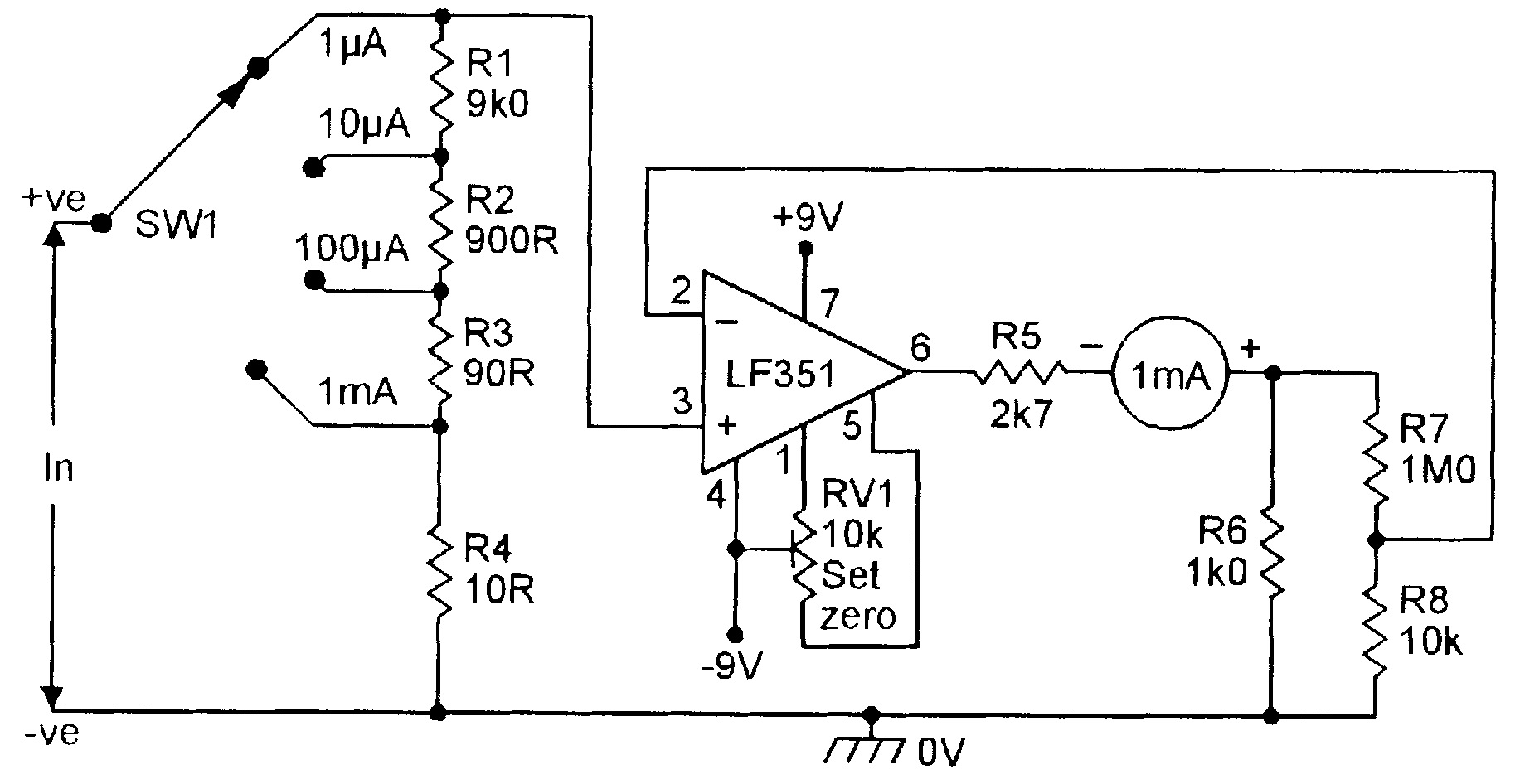 Op Amp Cookbook Part 4 Nuts Volts Magazine Block Diagram Inverting Amplifier Figure 14 Four Range Dc Microammeter