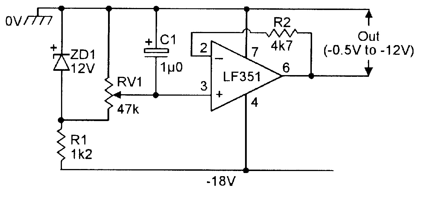 Op Amp Cookbook Part 4 Nuts Volts Magazine Adapter Circuit Diagram As Follows Figure 18 Variable Negative Voltage Reference