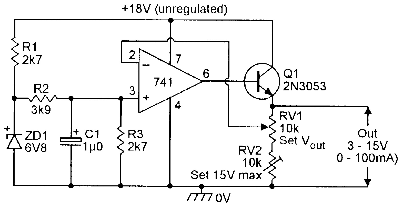 Op Amp Cookbook Part 4 Nuts Volts Magazine Ac Led Circuit Diagram In Addition 12 Volt Voltage Regulator Figure 20 3v To 15v 0 100 Ma Stabilized Psu