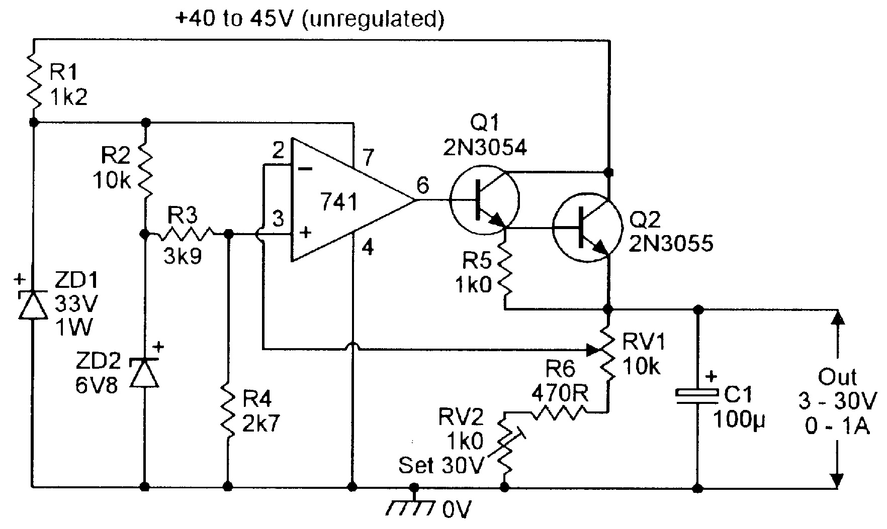 3V to 30V, 0 to 1 amp stabilized PSU.